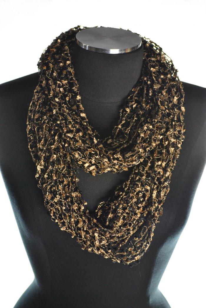 net infinity scarf black gold