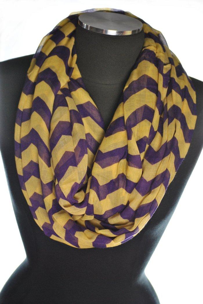 Chevron Infinity Scarf Purple Gold