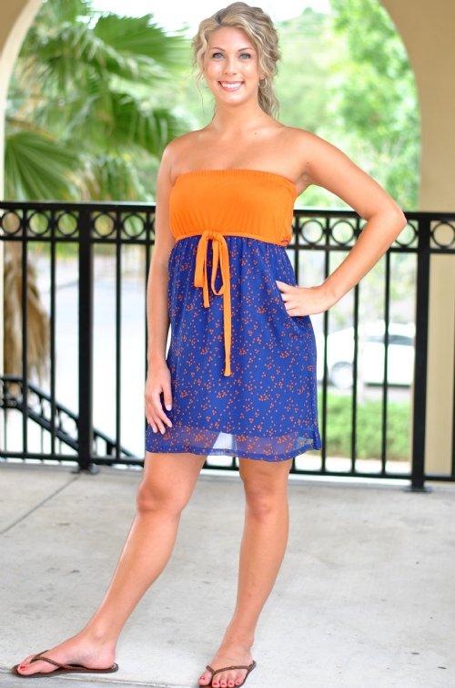 Touchdown Pass Dress Navy Orange