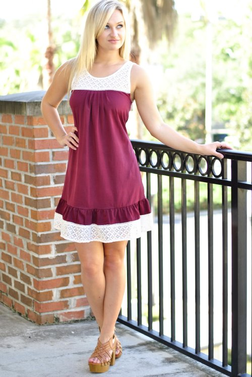The University Of Southern Mississippi >> First and Ten Gameday Dress- Crimson/White