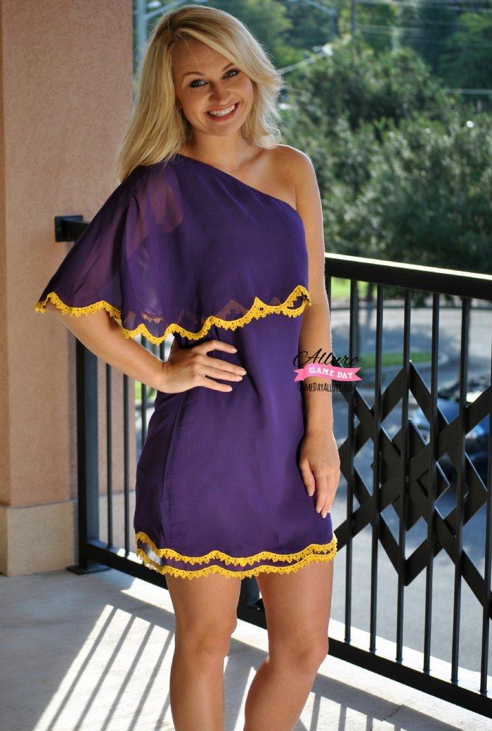 Drop Back Pass Dress Purple Gold