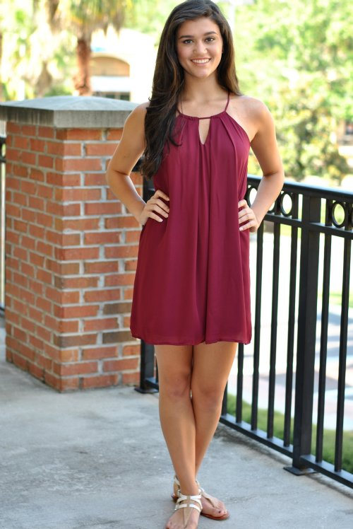 University South Alabama >> Go For It Gameday Dress- Burgundy